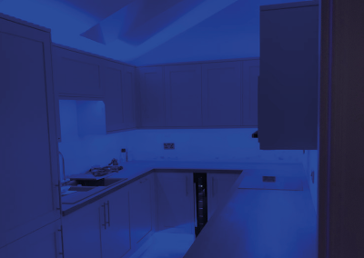 Kitchen fitting and creative changing colour light electrical installation cheltenham gloucestershire